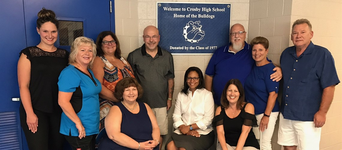 Crosby's Class of 1977 along with Mrs. Gopie, Principal, Crosby High School