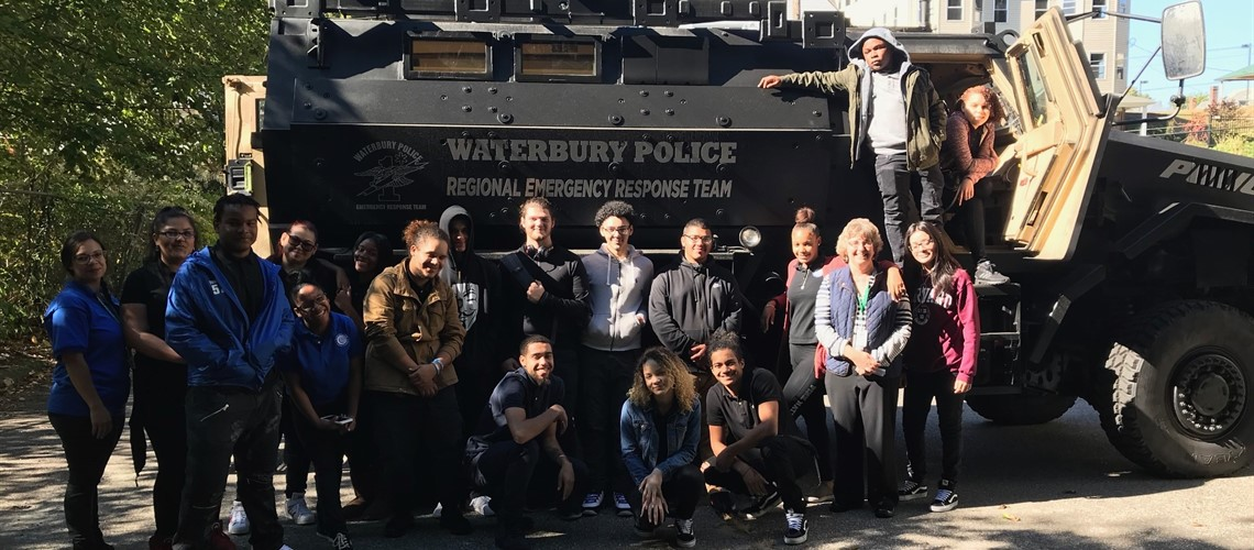 Public Service Academy Forensics Class visits Waterbury Police and Fire Dept.