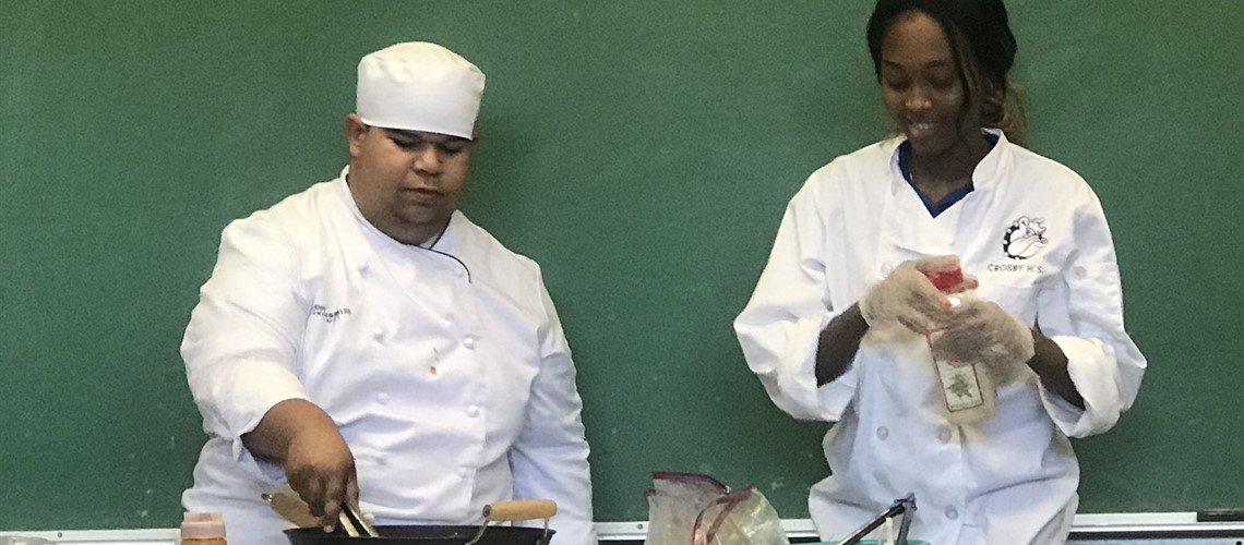 Crosby Culinary Arts students recently visited by Johnson and Wales University