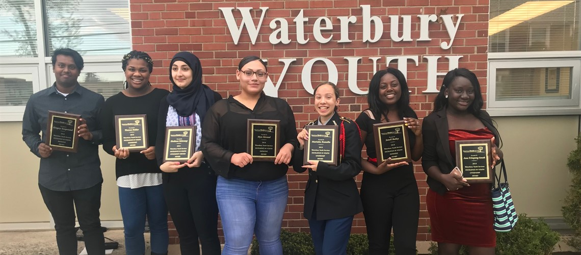 Crosby Students who received Waterbury Youth Services Awards