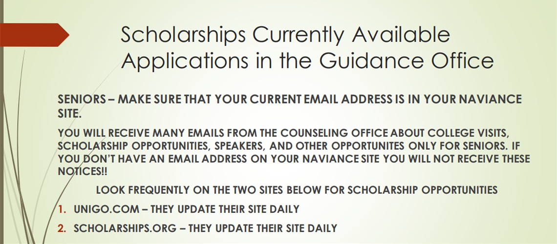 Seniors Check out these sites for Scholarships!