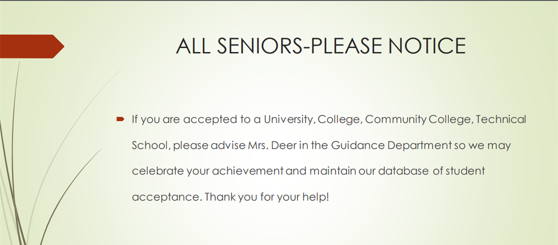 Seniors Notify Guidance of College Acceptances