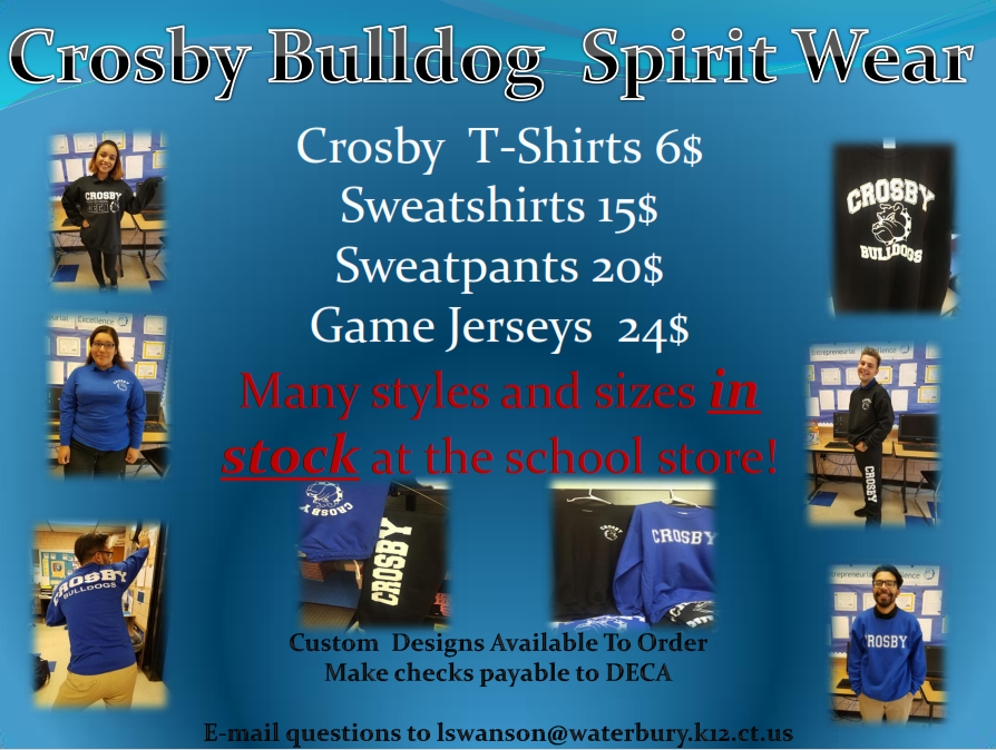 Buy your Crosby Bulldog Spirit Wear!