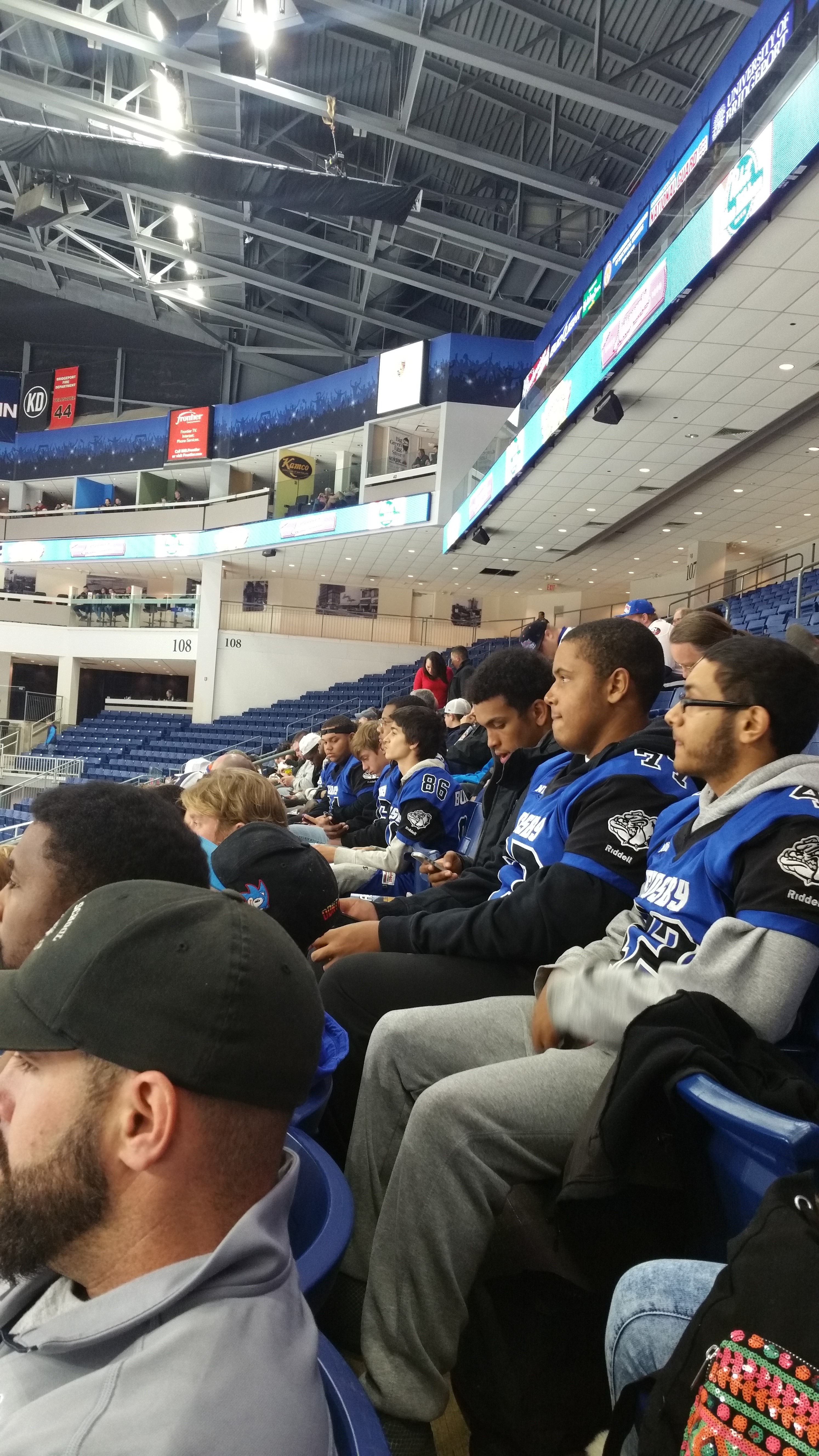 Crosby Football at Bridgeport Sound Tigers Hockey Game