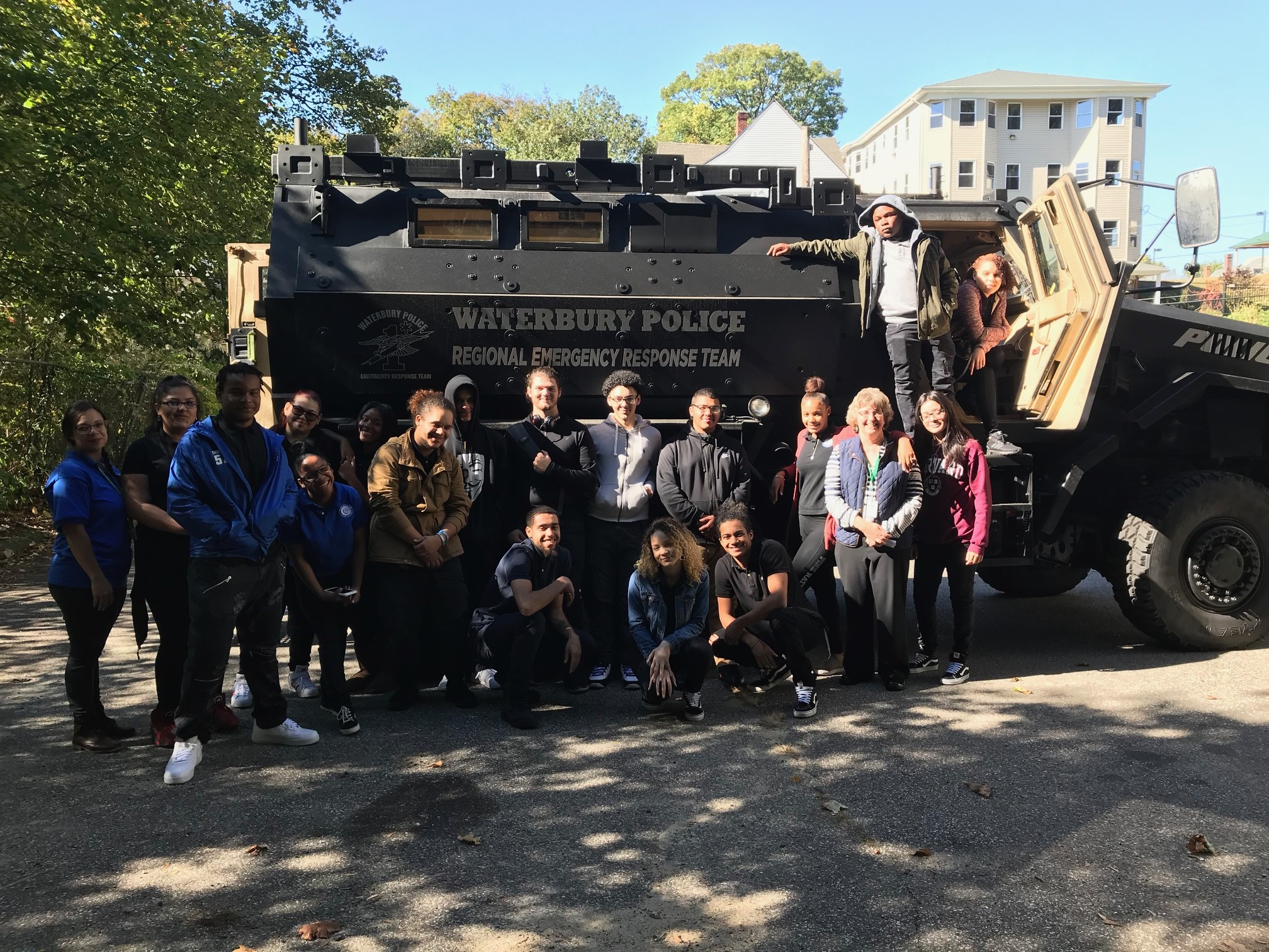 Public Service Academy Forensics Class visits Waterbury Police and Fire Dept. T