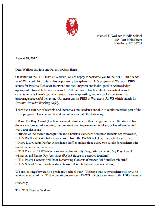 PBIS Welcome Back Letter