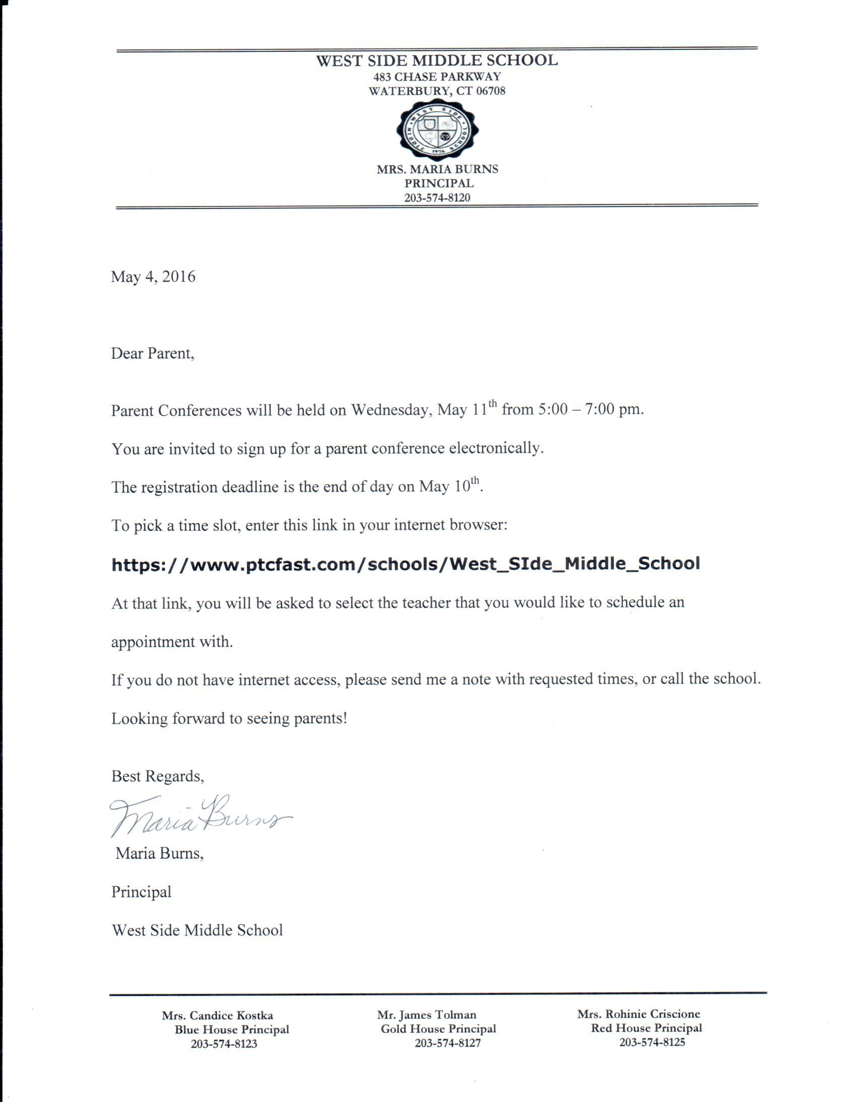Parent conferences information west side middle school west side middle school conference information letter spiritdancerdesigns Choice Image