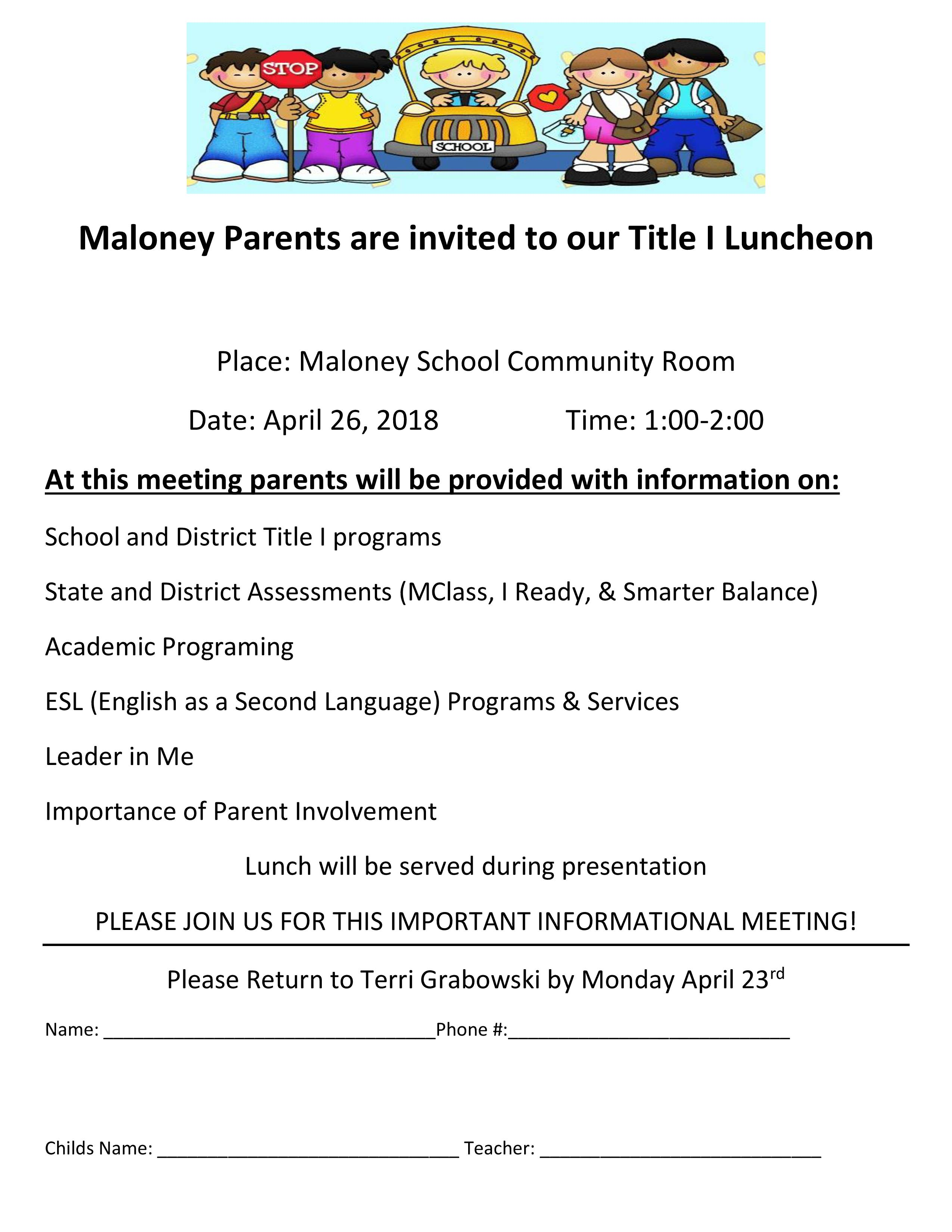 Title 1 Luncheon Flyer