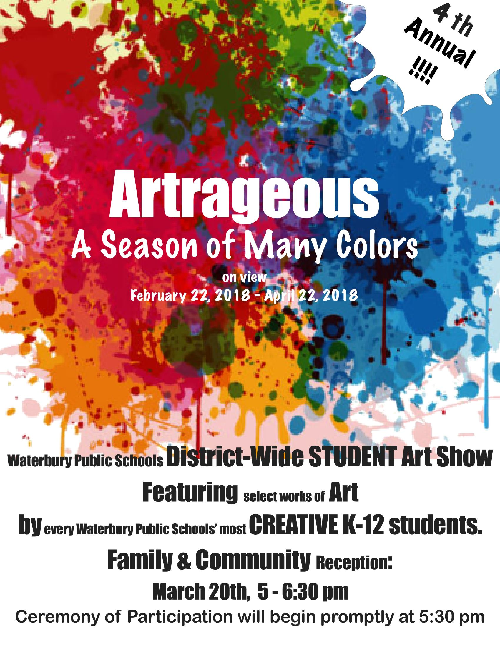 flyer for student art exhibit and reception