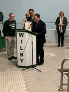 "Wilby HS pool named in honor of alumnus Gilman ""Gil"" Cyr on January 14, 2020."