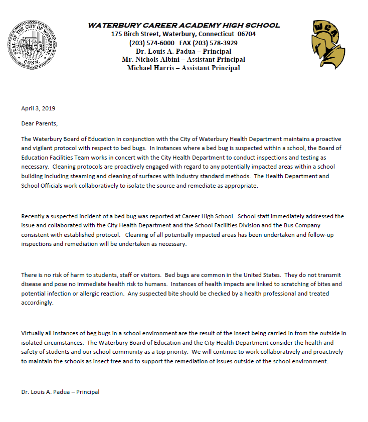 A Message to Parents - Waterbury Career Academy High School