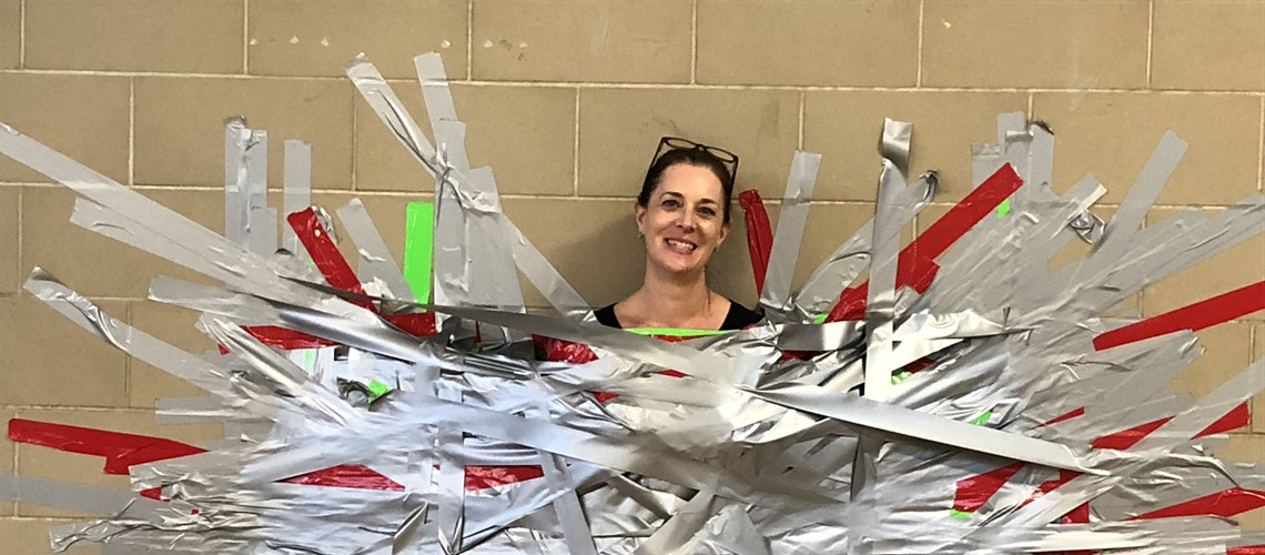 The students at Generali school raised money today buying strips of duct tape to tape their vice principal to the wall.