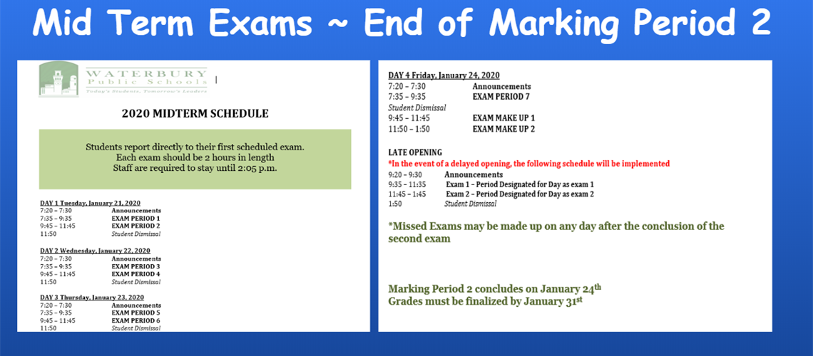 mid term exam schedule