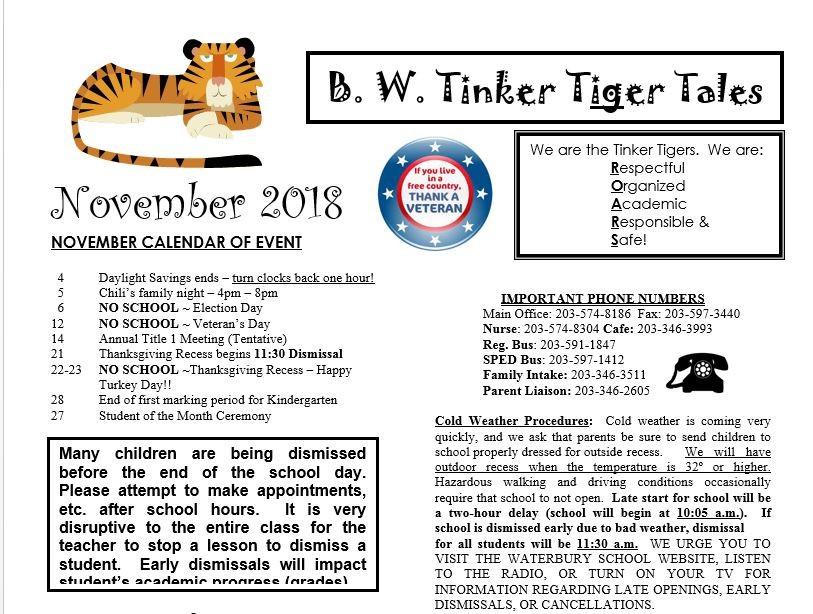 November Newsletter - B W  Tinker Elementary School